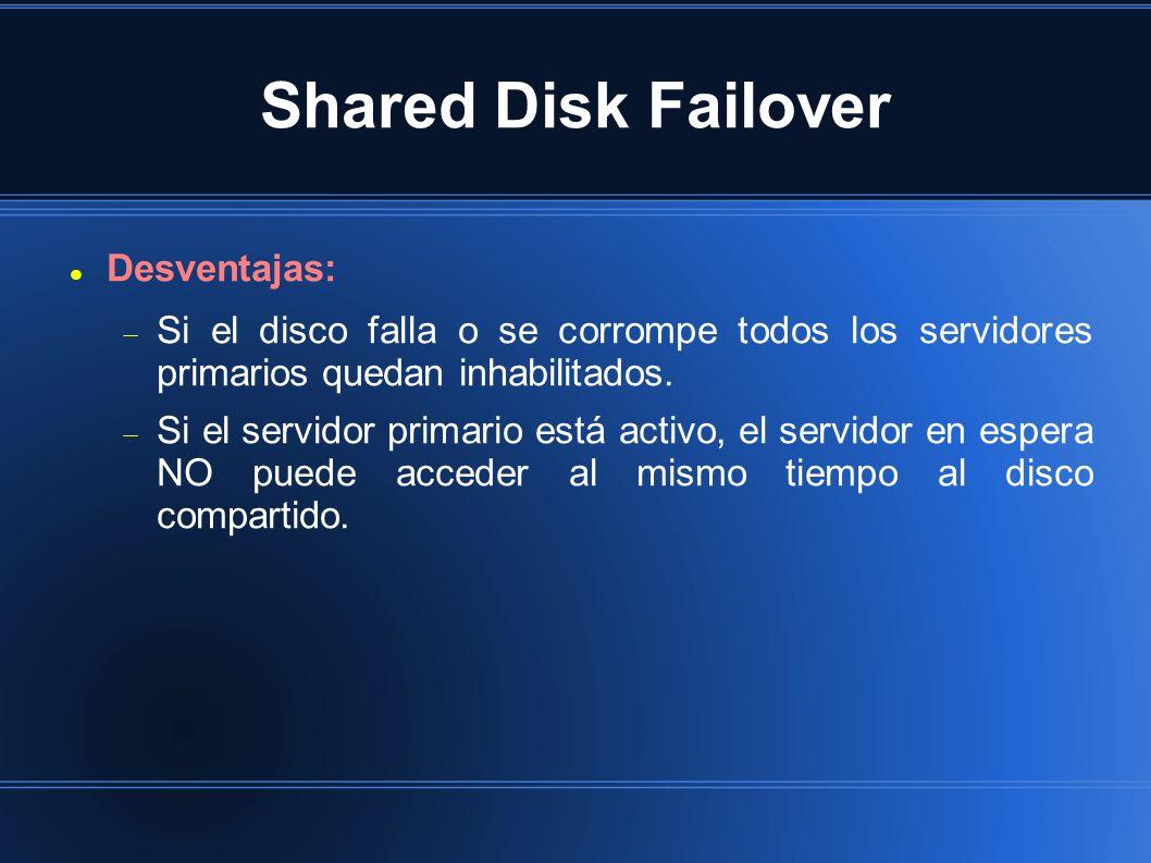 Shared Disk Failover Desventajas: Si el disco falla o se corrompe todos los servidores primarios quedan inhabilitados. Si el servidor primario está ac