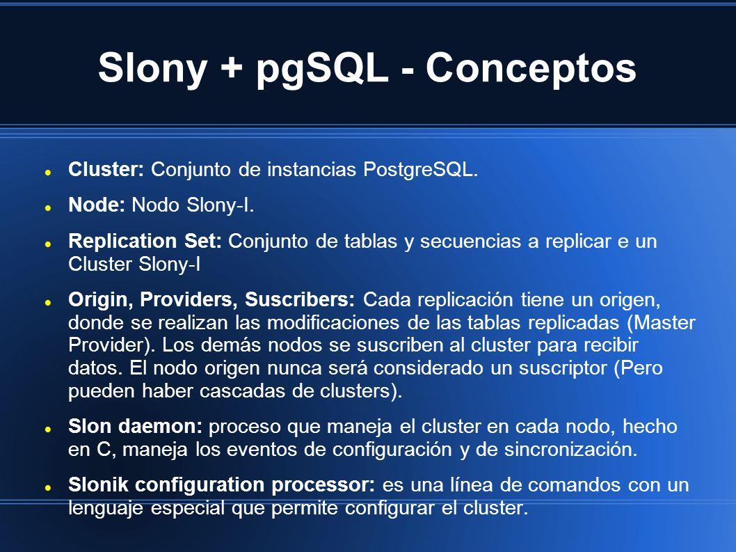 Slony + pgSQL - Conceptos Cluster: Conjunto de instancias PostgreSQL. Node: Nodo Slony-I. Replication Set: Conjunto de tablas y secuencias a replicar