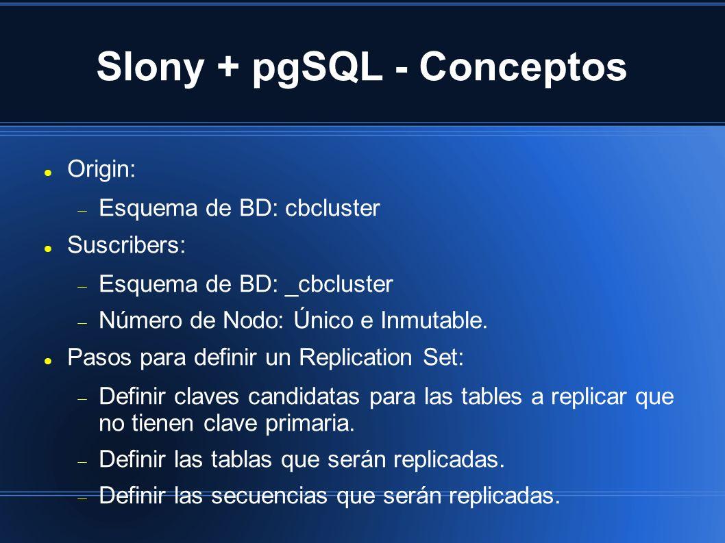 Slony + pgSQL - Conceptos Origin: Esquema de BD: cbcluster Suscribers: Esquema de BD: _cbcluster Número de Nodo: Único e Inmutable.