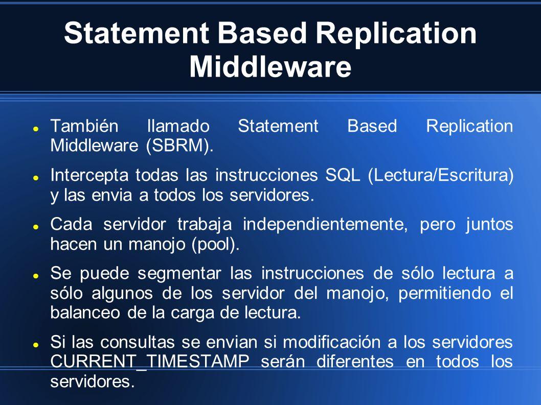 Statement Based Replication Middleware También llamado Statement Based Replication Middleware (SBRM). Intercepta todas las instrucciones SQL (Lectura/
