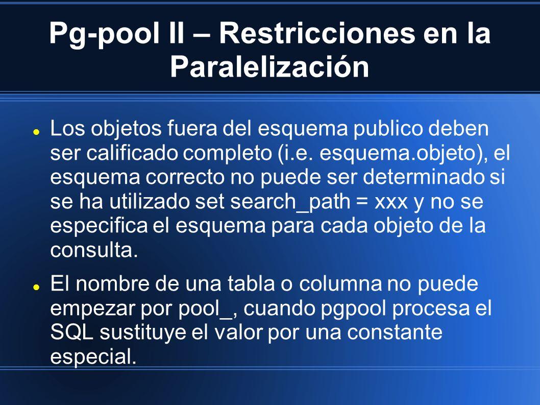Pg-pool II – Restricciones en la Paralelización Los objetos fuera del esquema publico deben ser calificado completo (i.e. esquema.objeto), el esquema