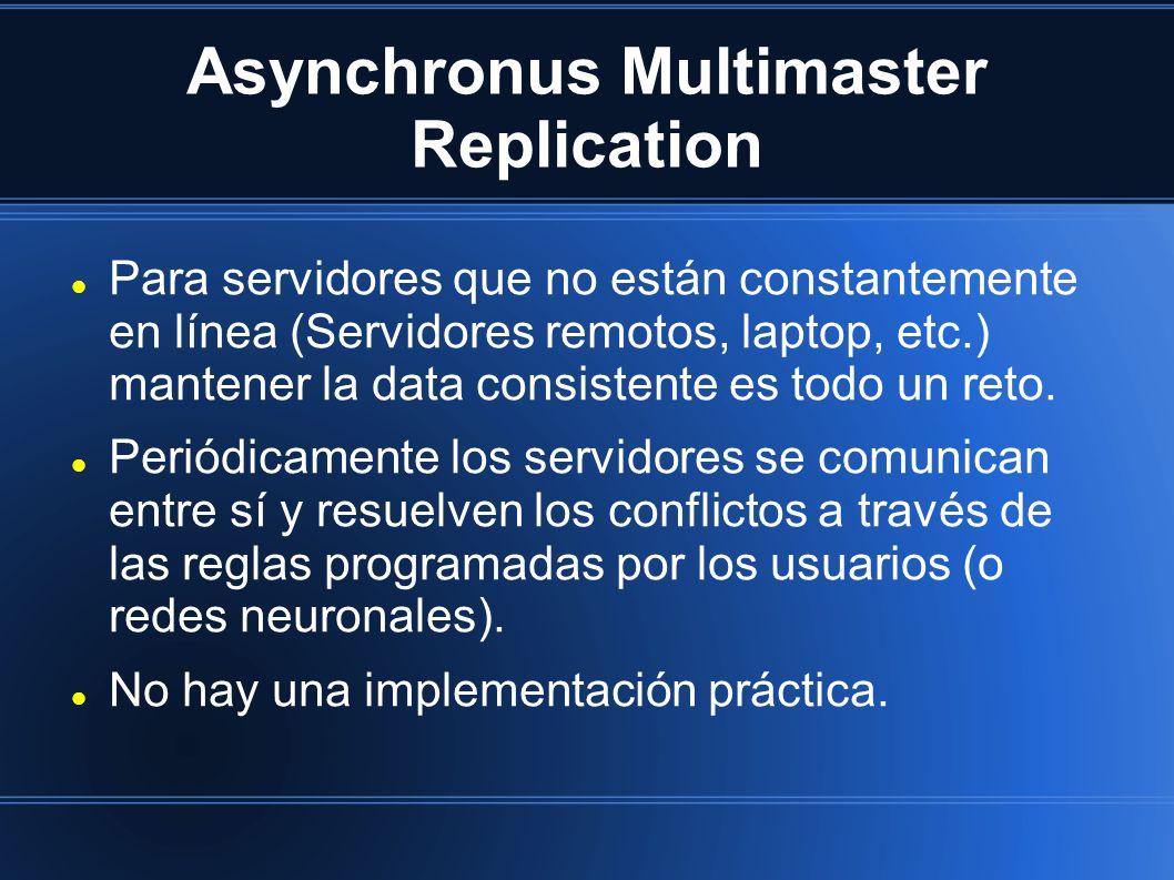 Asynchronus Multimaster Replication Para servidores que no están constantemente en línea (Servidores remotos, laptop, etc.) mantener la data consisten