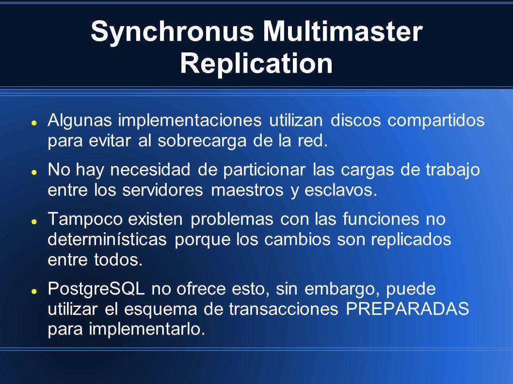 Synchronus Multimaster Replication Algunas implementaciones utilizan discos compartidos para evitar al sobrecarga de la red. No hay necesidad de parti