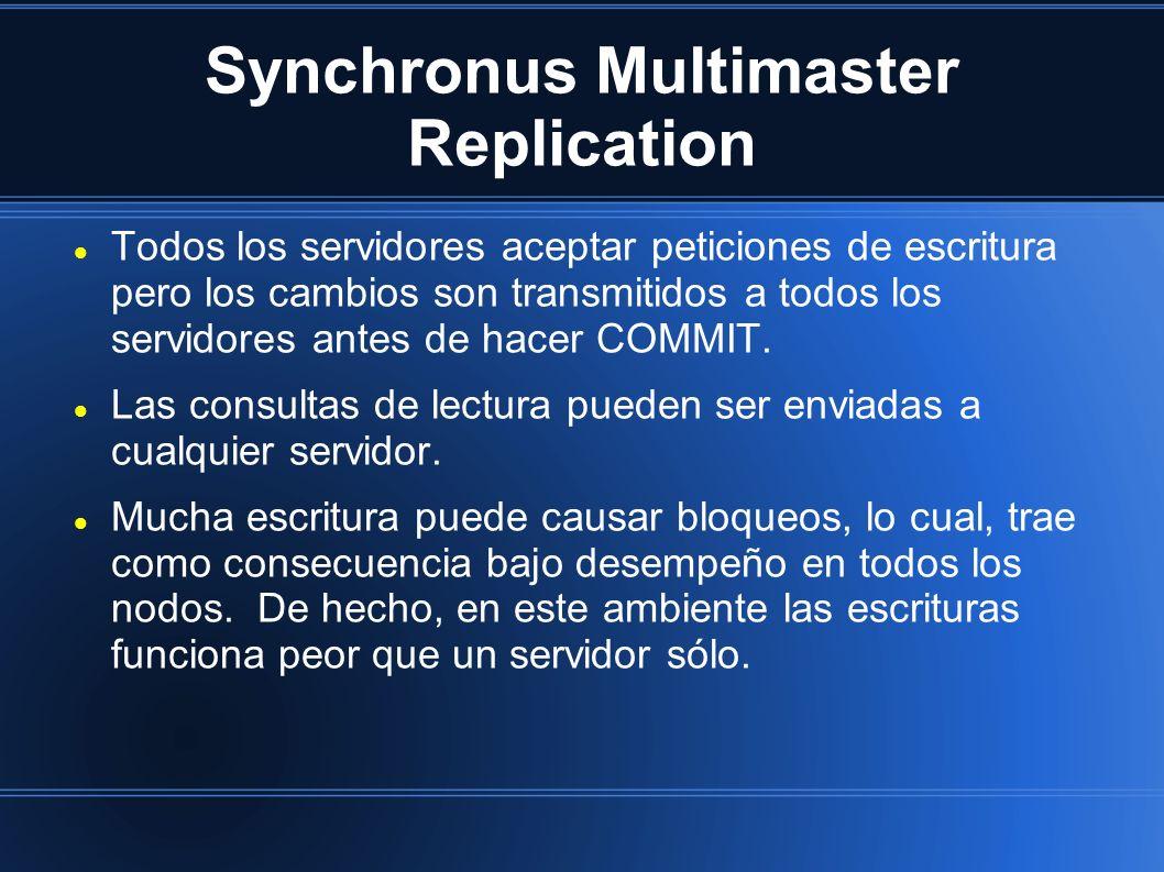 Synchronus Multimaster Replication Todos los servidores aceptar peticiones de escritura pero los cambios son transmitidos a todos los servidores antes de hacer COMMIT.