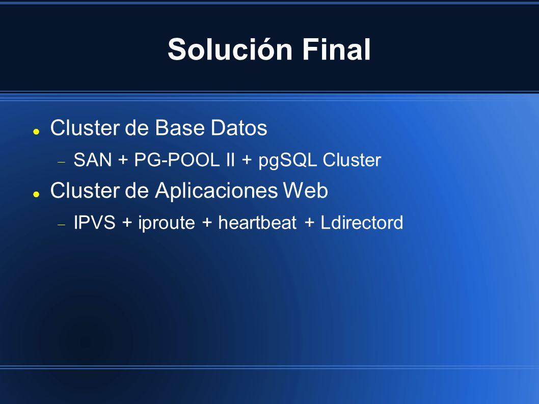Solución Final Cluster de Base Datos SAN + PG-POOL II + pgSQL Cluster Cluster de Aplicaciones Web IPVS + iproute + heartbeat + Ldirectord