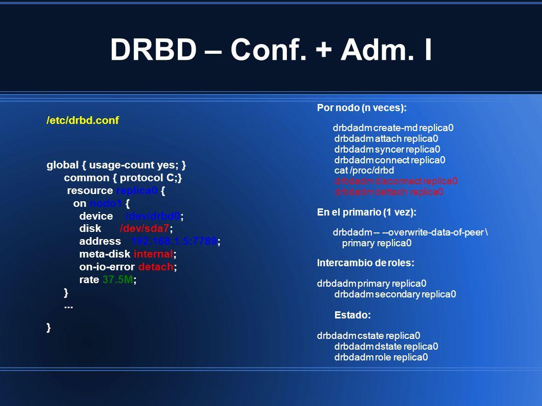 DRBD – Conf. + Adm. I /etc/drbd.conf global { usage-count yes; } common { protocol C;} resource replica0 { on nodo1 { device /dev/drbd0; disk /dev/sda