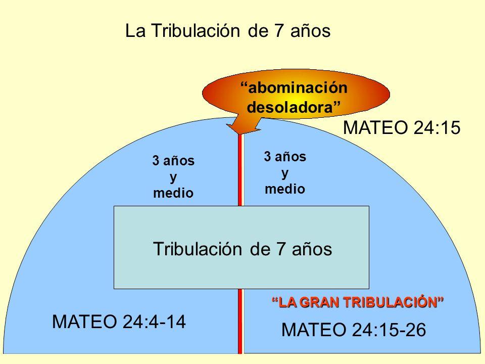 Tribulación de 7 años 3 años y medio LA GRAN TRIBULACIÓN abominación desoladora La Tribulación de 7 años MATEO 24:4-14 MATEO 24:15-26 MATEO 24:15