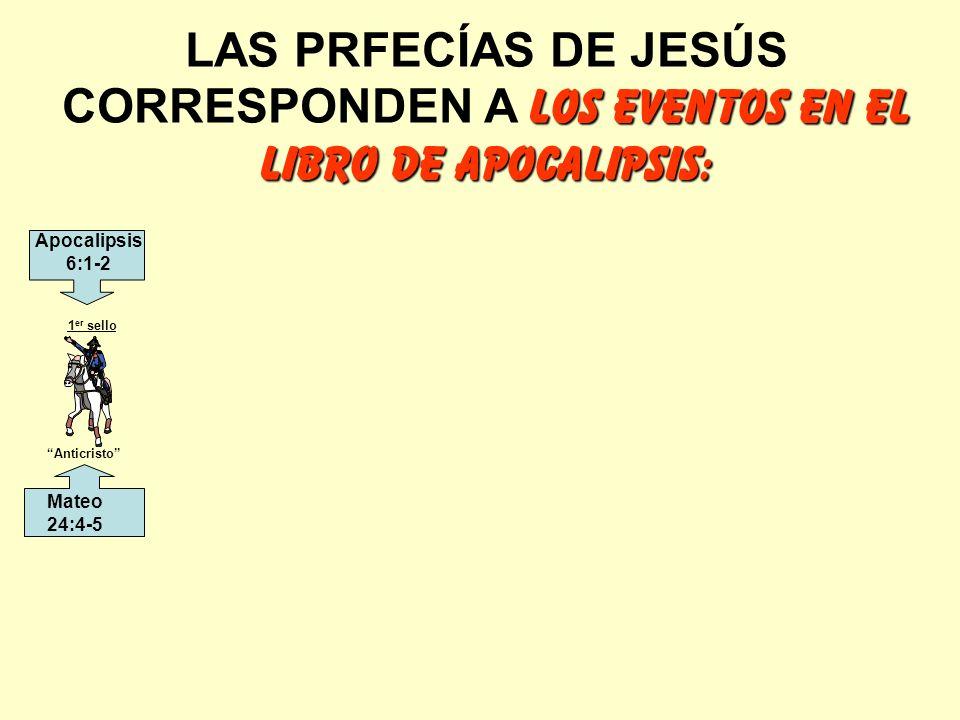 LOS EVENTOS EN EL LIBRO DE APOCALIPSIS: LAS PRFECÍAS DE JESÚS CORRESPONDEN A LOS EVENTOS EN EL LIBRO DE APOCALIPSIS: Anticristo 1 er sello Mateo 24:4-