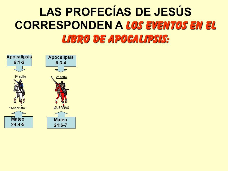 LOS EVENTOS EN EL LIBRO DE APOCALIPSIS: LAS PROFECÍAS DE JESÚS CORRESPONDEN A LOS EVENTOS EN EL LIBRO DE APOCALIPSIS: Anticristo GUERRAS 1 er sello 2º