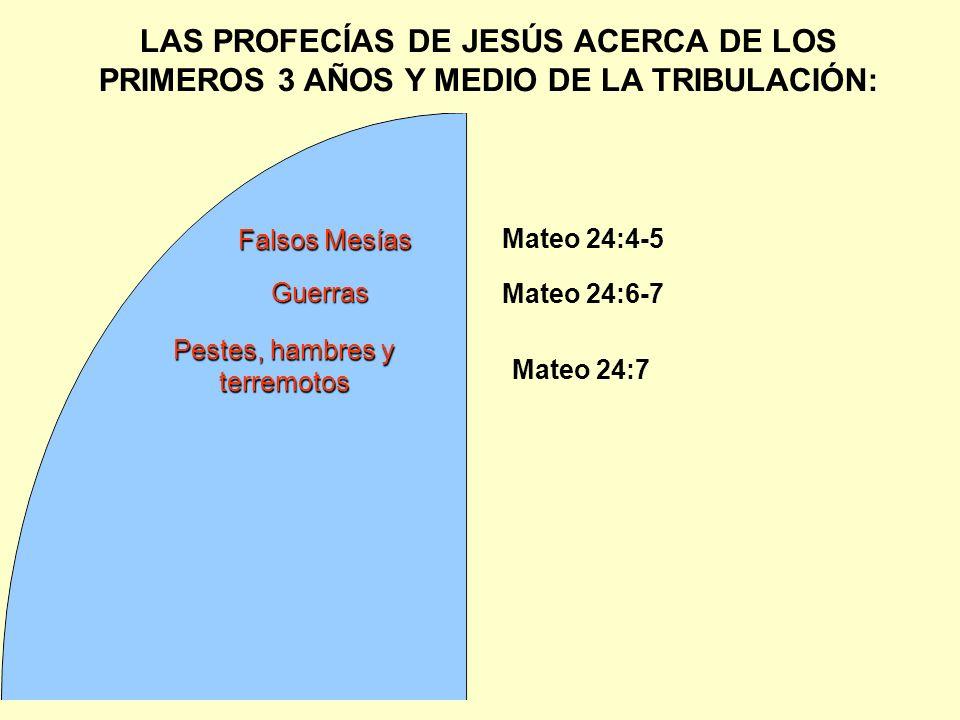 LAS PROFECÍAS DE JESÚS ACERCA DE LOS PRIMEROS 3 AÑOS Y MEDIO DE LA TRIBULACIÓN: Guerras Mateo 24:4-5 Falsos Mesías Mateo 24:6-7 Mateo 24:7 Pestes, ham