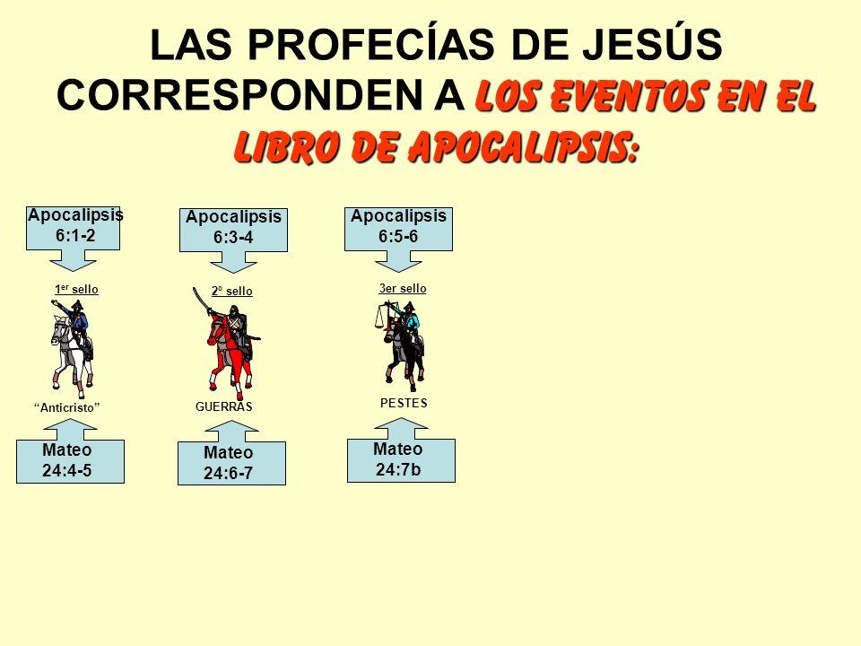 los eventos en el libro de apocalipsis: LAS PROFECÍAS DE JESÚS CORRESPONDEN A los eventos en el libro de apocalipsis: Anticristo GUERRAS PESTES 1 er s
