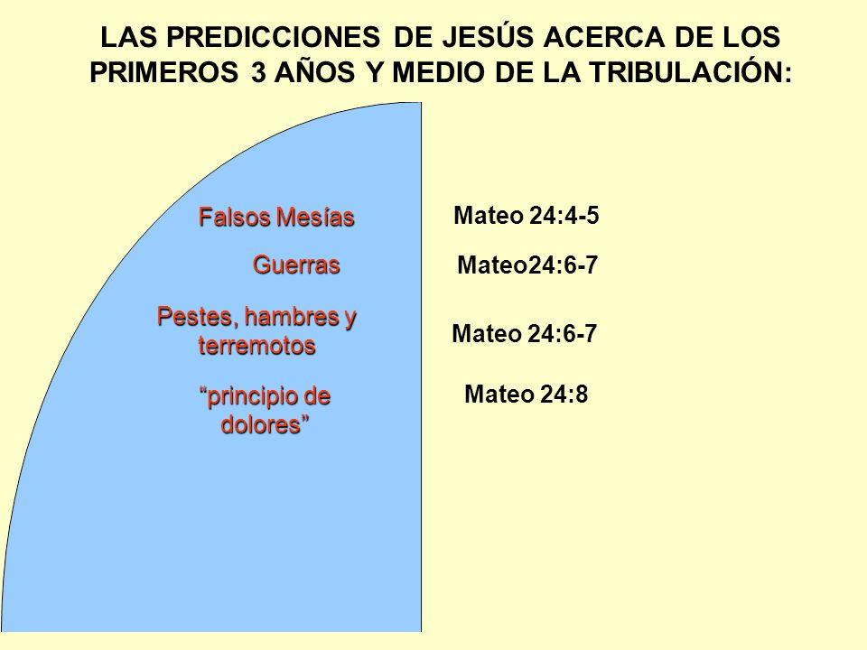 LAS PREDICCIONES DE JESÚS ACERCA DE LOS PRIMEROS 3 AÑOS Y MEDIO DE LA TRIBULACIÓN: Guerras Mateo 24:4-5 Falsos Mesías Mateo24:6-7 Pestes, hambres y te