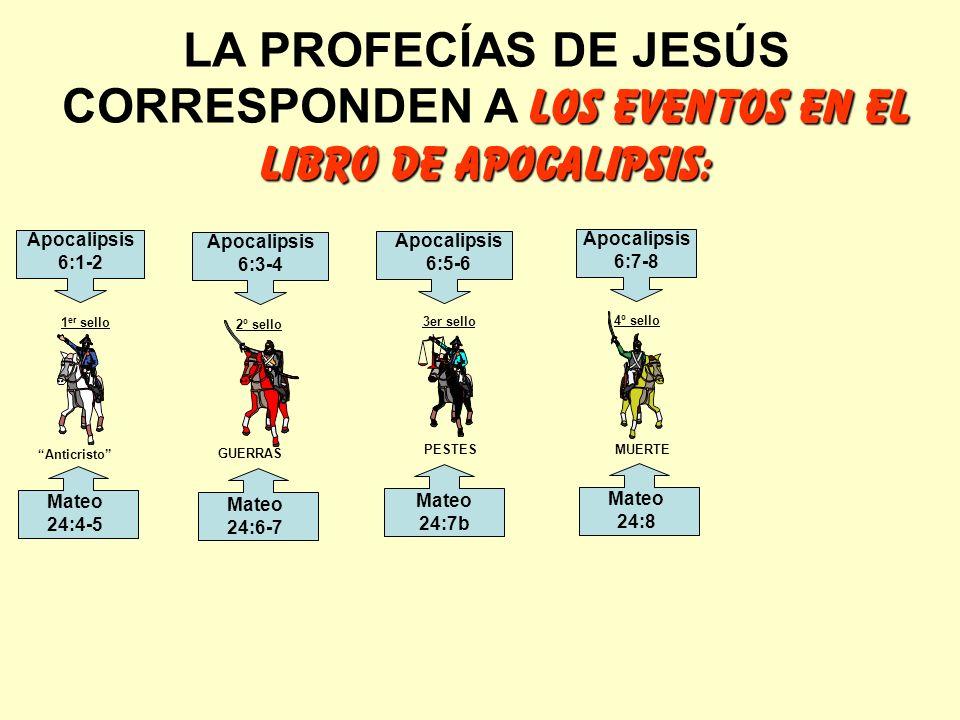 LOS EVENTOS EN EL LIBRO DE APOCALIPSIS: LA PROFECÍAS DE JESÚS CORRESPONDEN A LOS EVENTOS EN EL LIBRO DE APOCALIPSIS: Anticristo GUERRAS PESTES MUERTE