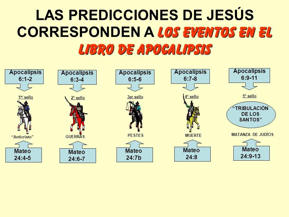 los eventos en el libro de apocalipsis LAS PREDICCIONES DE JESÚS CORRESPONDEN A los eventos en el libro de apocalipsis Anticristo GUERRAS PESTES MUERT