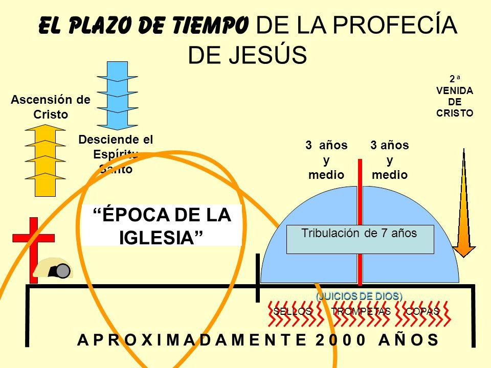 Ascensión de Cristo Desciende el Espíritu Santo EL PLAZO DE TIEMPO DE LA PROFECÍA DE JESÚS Tribulación de 7 años 3 años y medio SELLOS TROMPETAS COPAS