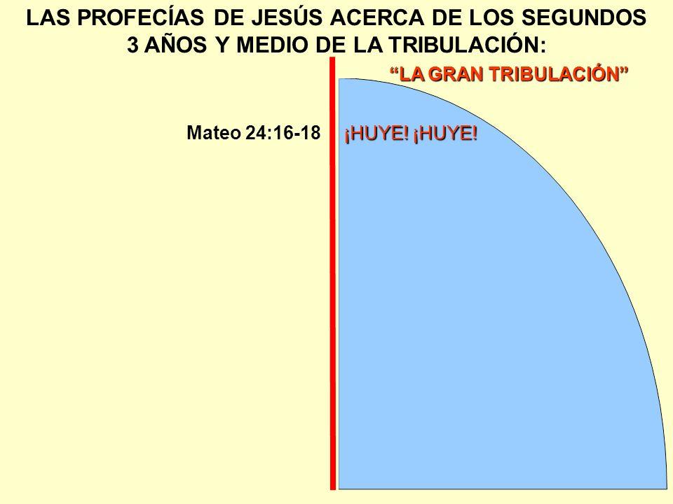 LA GRAN TRIBULACIÓN LAS PROFECÍAS DE JESÚS ACERCA DE LOS SEGUNDOS 3 AÑOS Y MEDIO DE LA TRIBULACIÓN:¡HUYE! ¡HUYE!Mateo 24:16-18