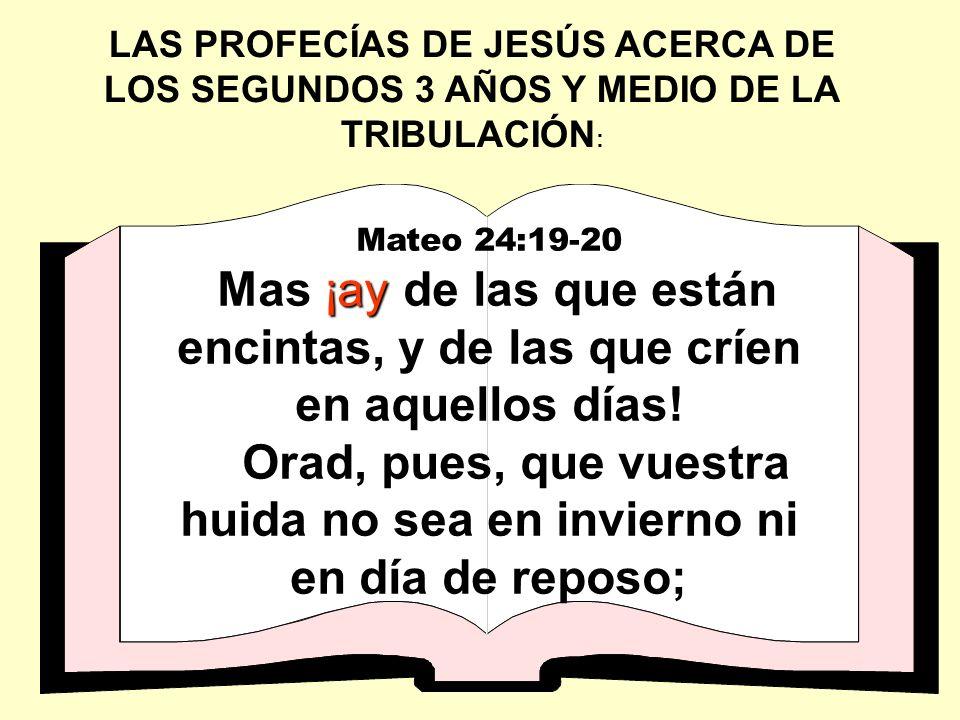 Mateo 24:19-20 ¡ay Mas ¡ay de las que están encintas, y de las que críen en aquellos días! Orad, pues, que vuestra huida no sea en invierno ni en día
