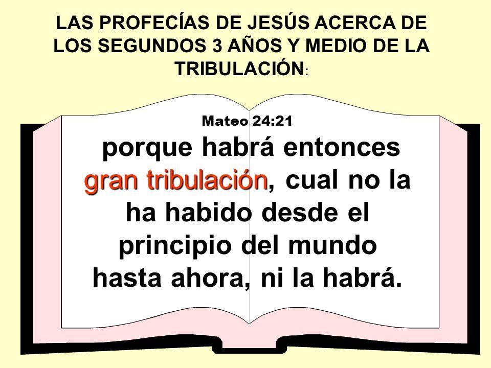 LAS PROFECÍAS DE JESÚS ACERCA DE LOS SEGUNDOS 3 AÑOS Y MEDIO DE LA TRIBULACIÓN : Mateo 24:21 gran tribulación porque habrá entonces gran tribulación,