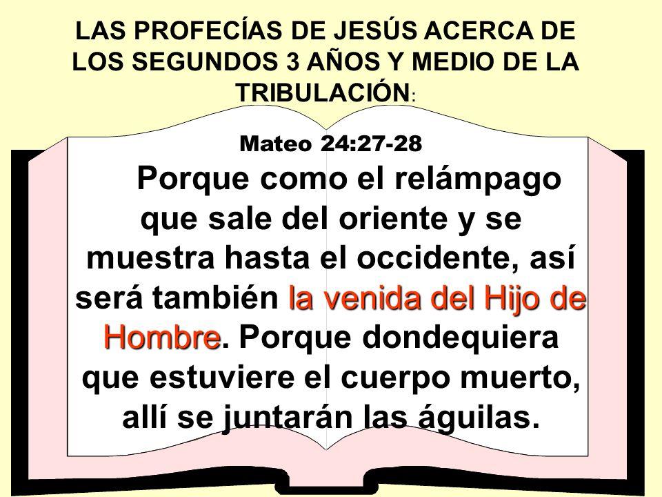 LAS PROFECÍAS DE JESÚS ACERCA DE LOS SEGUNDOS 3 AÑOS Y MEDIO DE LA TRIBULACIÓN : Mateo 24:27-28 la venida del Hijo de Hombre Porque como el relámpago