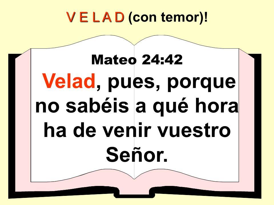 V E L A D V E L A D (con temor)! Mateo 24:42 Velad, pues, porque no sabéis a qué hora ha de venir vuestro Señor.