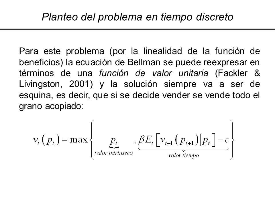 Planteo del problema en tiempo discreto Para este problema (por la linealidad de la función de beneficios) la ecuación de Bellman se puede reexpresar