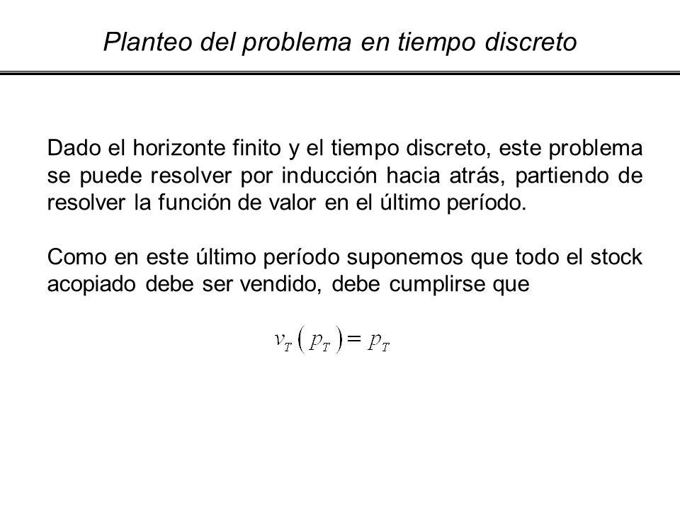 Planteo del problema en tiempo discreto Dado el horizonte finito y el tiempo discreto, este problema se puede resolver por inducción hacia atrás, part