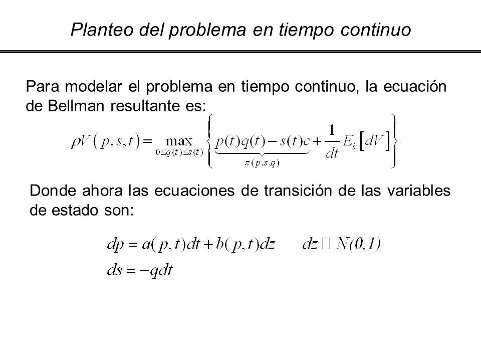 Planteo del problema en tiempo continuo Para modelar el problema en tiempo continuo, la ecuación de Bellman resultante es: Donde ahora las ecuaciones