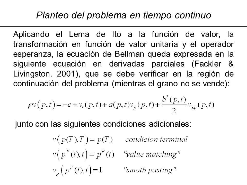 Planteo del problema en tiempo continuo Aplicando el Lema de Ito a la función de valor, la transformación en función de valor unitaria y el operador e