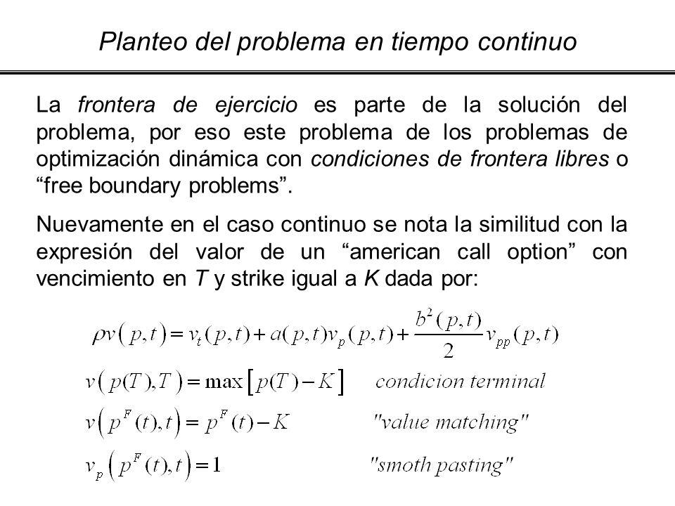 Planteo del problema en tiempo continuo La frontera de ejercicio es parte de la solución del problema, por eso este problema de los problemas de optim