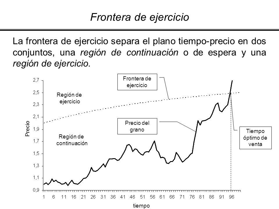 La frontera de ejercicio separa el plano tiempo-precio en dos conjuntos, una región de continuación o de espera y una región de ejercicio. Precio del