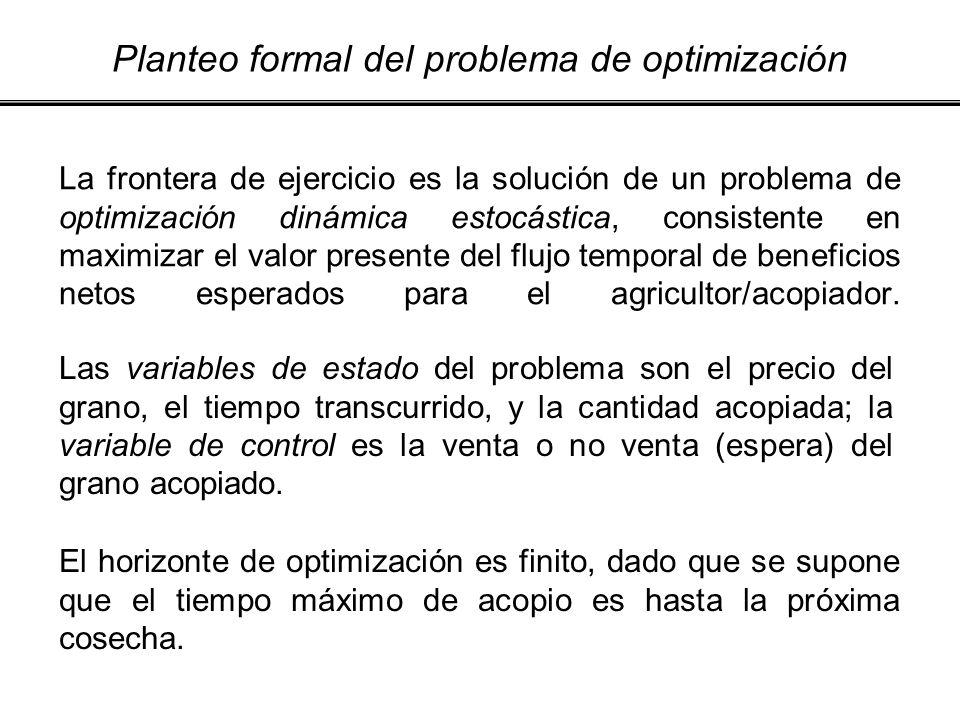 La frontera de ejercicio es la solución de un problema de optimización dinámica estocástica, consistente en maximizar el valor presente del flujo temp