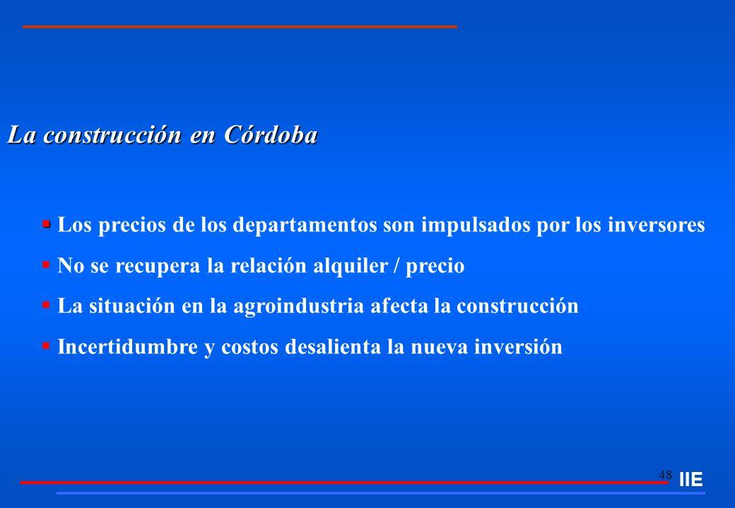 48 La construcción en Córdoba Los precios de los departamentos son impulsados por los inversores No se recupera la relación alquiler / precio La situa