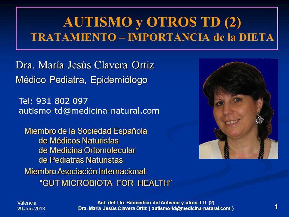 Valencia 29-Jun-2013 Act. del Tto. Biomédico del Autismo y otros T.D. (2) Dra. María Jesús Clavera Ortiz ( autismo-td@medicina-natural.com ) 1 Dra. Ma