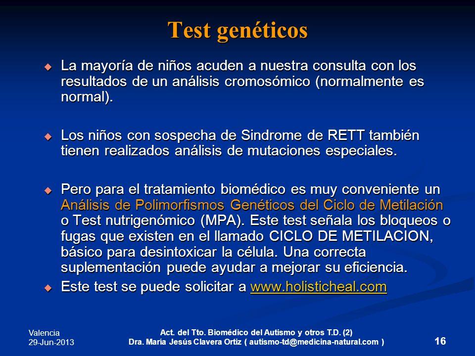 Valencia 29-Jun-2013 Act. del Tto. Biomédico del Autismo y otros T.D. (2) Dra. María Jesús Clavera Ortiz ( autismo-td@medicina-natural.com ) 16 Test g