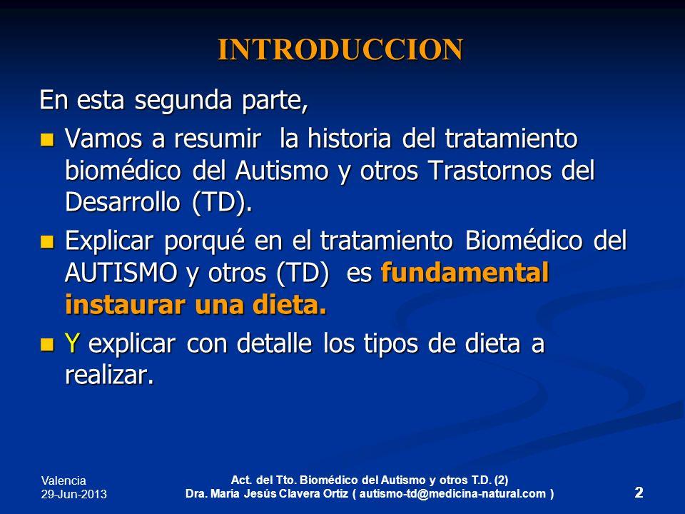 Valencia 29-Jun-2013 Act. del Tto. Biomédico del Autismo y otros T.D. (2) Dra. María Jesús Clavera Ortiz ( autismo-td@medicina-natural.com ) 2 INTRODU