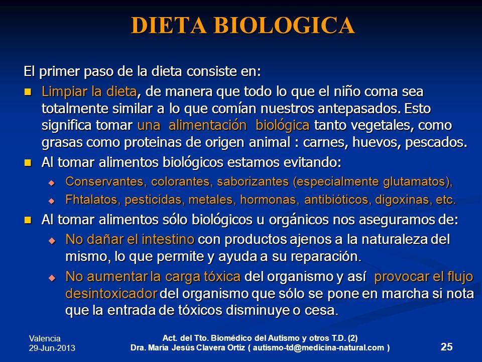 Valencia 29-Jun-2013 Act. del Tto. Biomédico del Autismo y otros T.D. (2) Dra. María Jesús Clavera Ortiz ( autismo-td@medicina-natural.com ) DIETA BIO