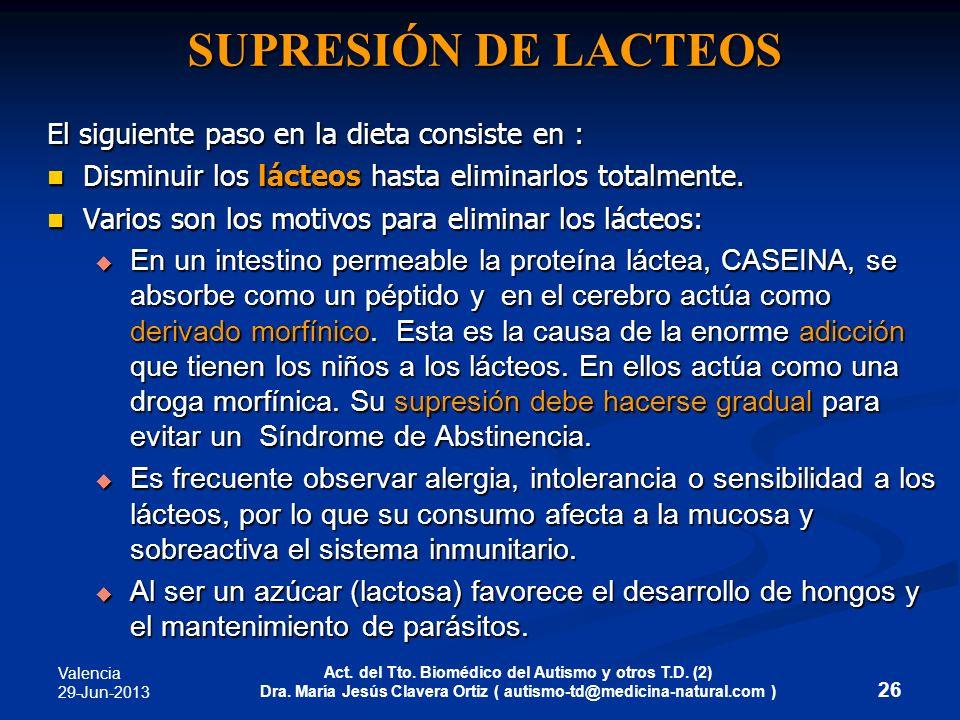 Valencia 29-Jun-2013 Act. del Tto. Biomédico del Autismo y otros T.D. (2) Dra. María Jesús Clavera Ortiz ( autismo-td@medicina-natural.com ) SUPRESIÓN
