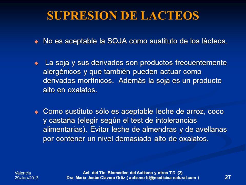 Valencia 29-Jun-2013 Act. del Tto. Biomédico del Autismo y otros T.D. (2) Dra. María Jesús Clavera Ortiz ( autismo-td@medicina-natural.com ) 27 SUPRES
