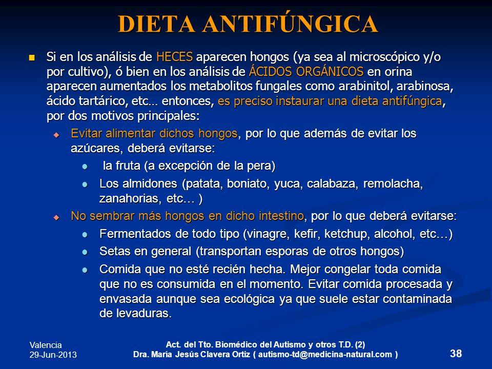 Valencia 29-Jun-2013 Act. del Tto. Biomédico del Autismo y otros T.D. (2) Dra. María Jesús Clavera Ortiz ( autismo-td@medicina-natural.com ) DIETA ANT
