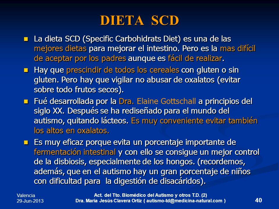 Valencia 29-Jun-2013 Act. del Tto. Biomédico del Autismo y otros T.D. (2) Dra. María Jesús Clavera Ortiz ( autismo-td@medicina-natural.com ) DIETA SCD