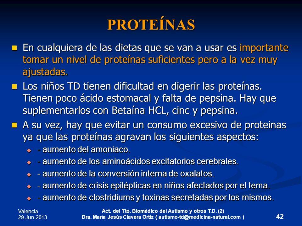 Valencia 29-Jun-2013 Act. del Tto. Biomédico del Autismo y otros T.D. (2) Dra. María Jesús Clavera Ortiz ( autismo-td@medicina-natural.com ) PROTEÍNAS