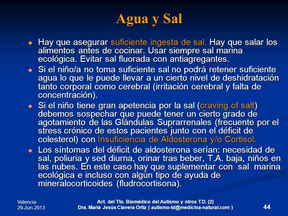 Valencia 29-Jun-2013 Act. del Tto. Biomédico del Autismo y otros T.D. (2) Dra. María Jesús Clavera Ortiz ( autismo-td@medicina-natural.com ) 44 Agua y