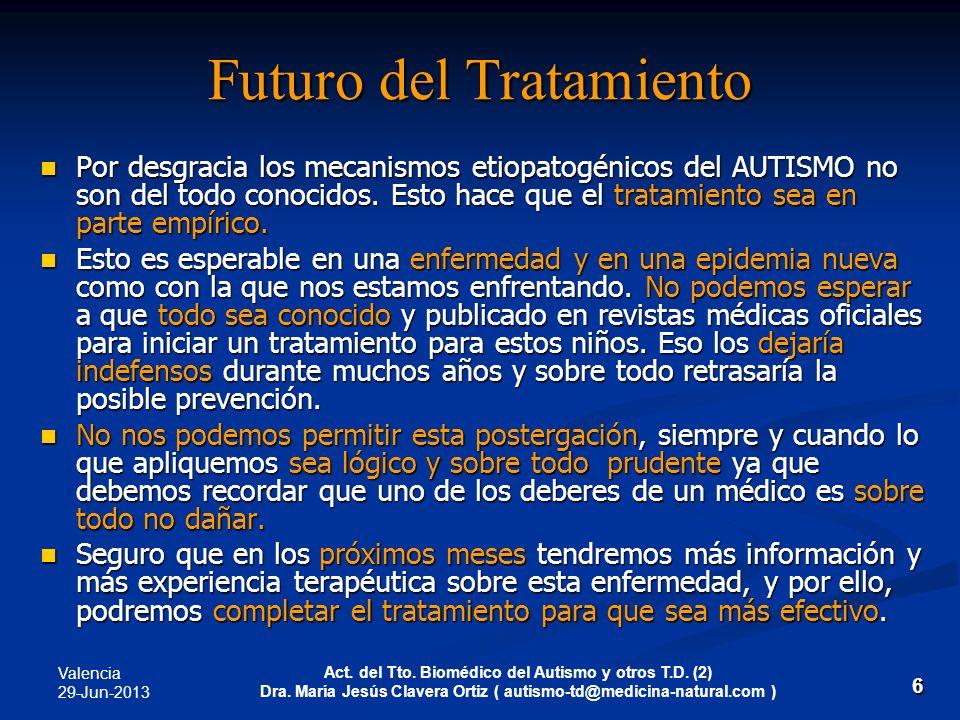 Valencia 29-Jun-2013 Act. del Tto. Biomédico del Autismo y otros T.D. (2) Dra. María Jesús Clavera Ortiz ( autismo-td@medicina-natural.com ) 6 Futuro