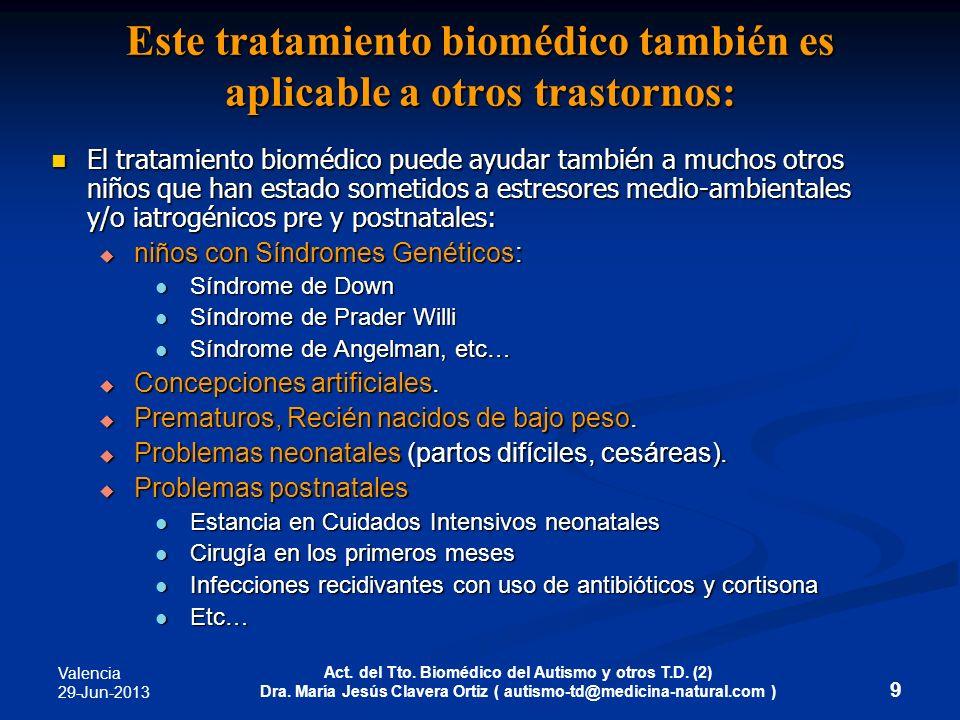 Valencia 29-Jun-2013 Act. del Tto. Biomédico del Autismo y otros T.D. (2) Dra. María Jesús Clavera Ortiz ( autismo-td@medicina-natural.com ) 9 Este tr