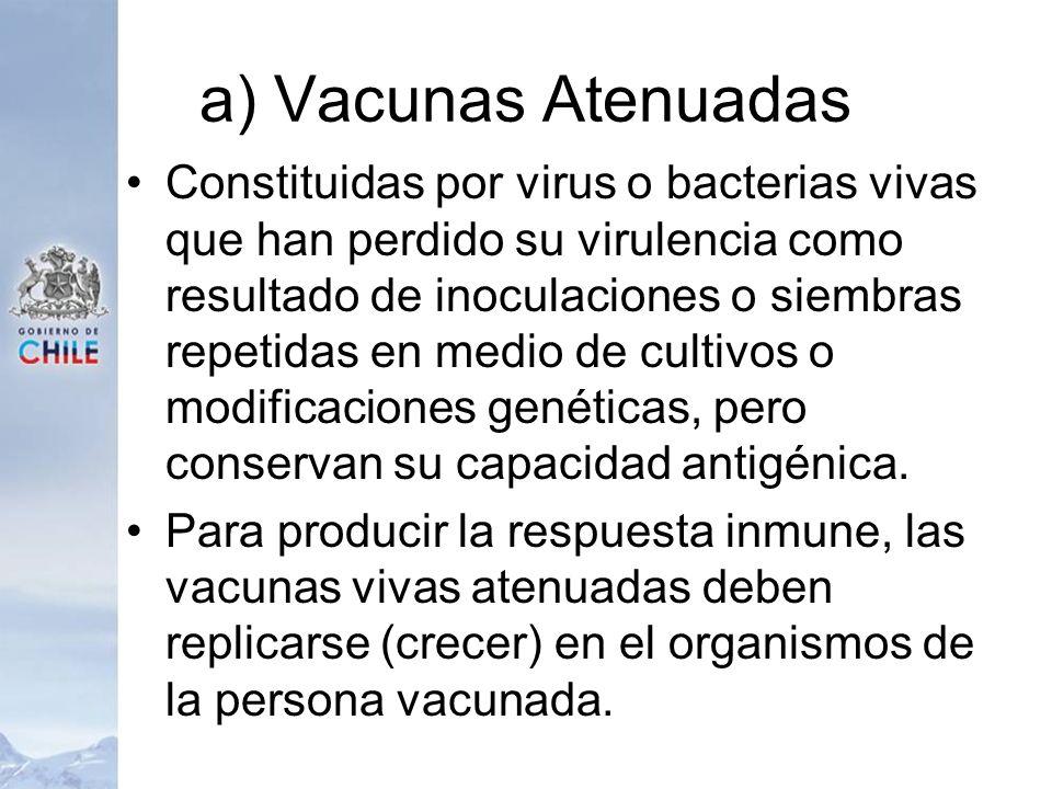 a) Vacunas Atenuadas Constituidas por virus o bacterias vivas que han perdido su virulencia como resultado de inoculaciones o siembras repetidas en me