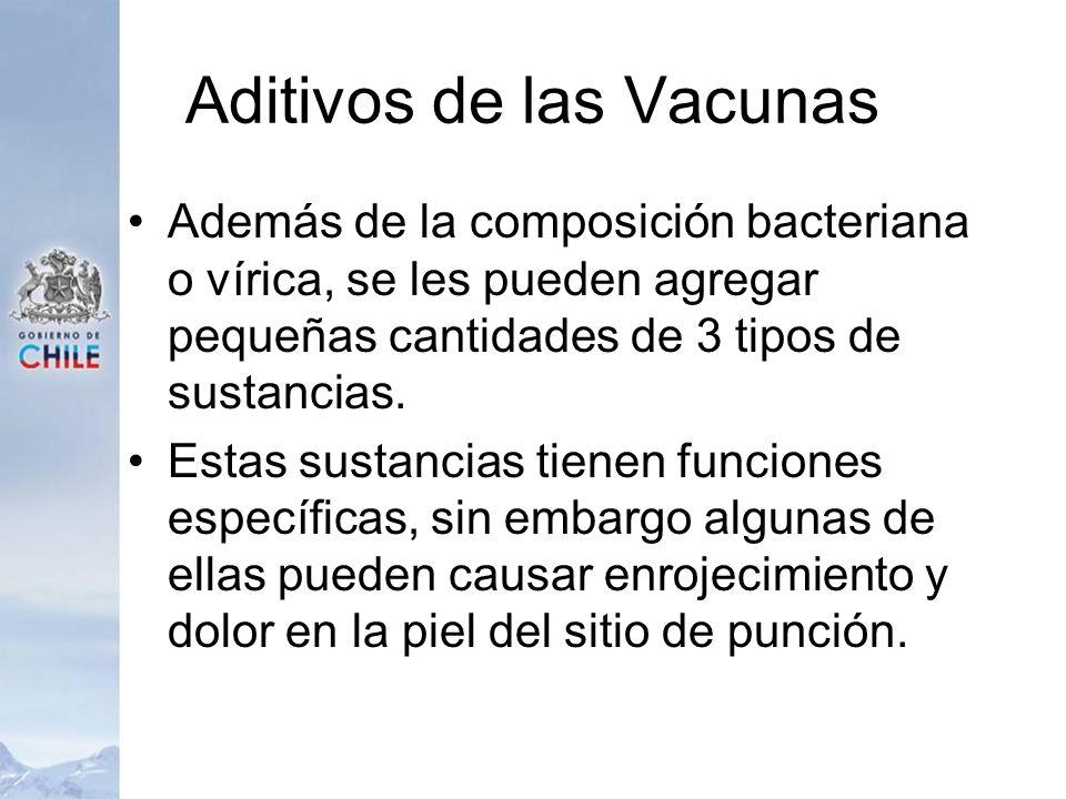 Aditivos de las Vacunas Además de la composición bacteriana o vírica, se les pueden agregar pequeñas cantidades de 3 tipos de sustancias. Estas sustan
