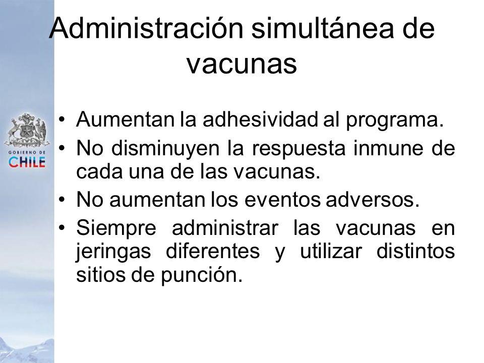 Administración simultánea de vacunas Aumentan la adhesividad al programa. No disminuyen la respuesta inmune de cada una de las vacunas. No aumentan lo