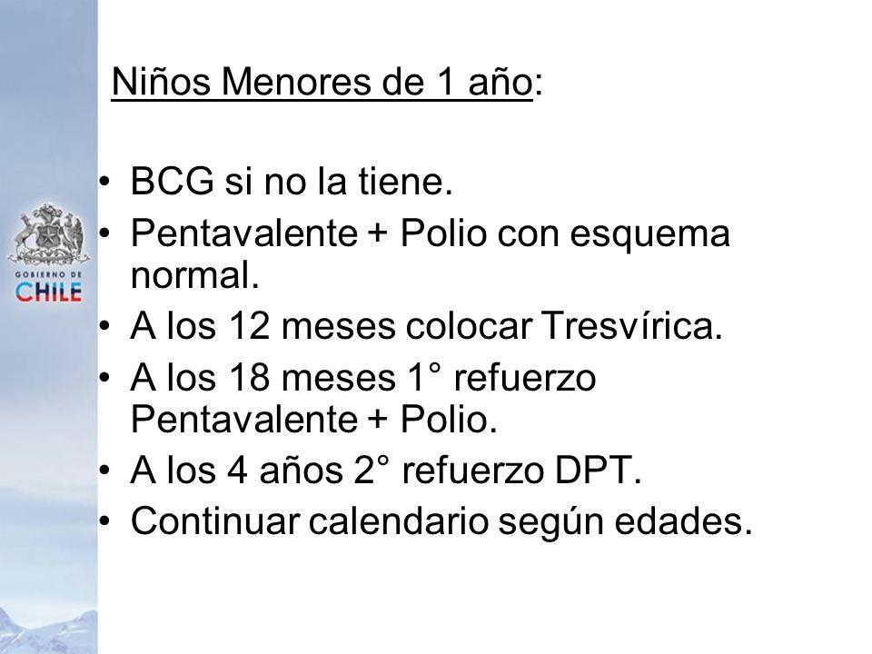 Niños Menores de 1 año: BCG si no la tiene. Pentavalente + Polio con esquema normal. A los 12 meses colocar Tresvírica. A los 18 meses 1° refuerzo Pen