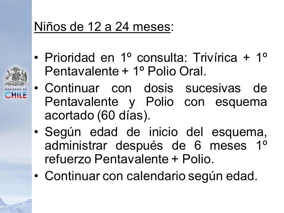 Niños de 12 a 24 meses: Prioridad en 1º consulta: Trivírica + 1º Pentavalente + 1º Polio Oral. Continuar con dosis sucesivas de Pentavalente y Polio c