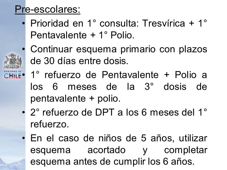 Pre-escolares: Prioridad en 1° consulta: Tresvírica + 1° Pentavalente + 1° Polio. Continuar esquema primario con plazos de 30 días entre dosis. 1° ref